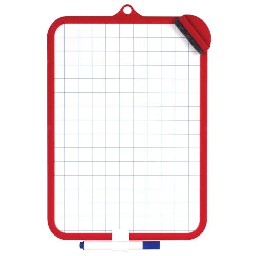 Доска для рисования двусторонняя с маркером и губкой 185х260 мм, клетка, подвес_0 236897 135.42 ₽