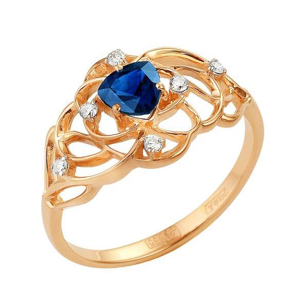 Золотое кольцо с сапфиром и бриллиантами_0 T-12836 47771.38 ₽