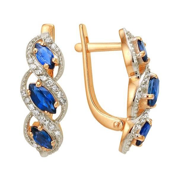 Золотые серьги с сапфиром и бриллиантами_0 T-13371 69477.51 ₽