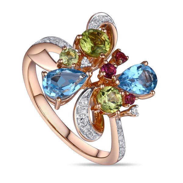 Золотое кольцо c топазами, бриллиантами, перидотами и родолитами_0 T-34838 57437.37 ₽