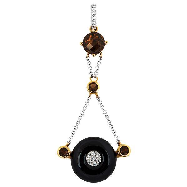 Подвеска-кулон с бриллиантами, агатом и дымчатыми кварцами_0 T-37533 31266.90 ₽