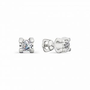 Серьги-гвоздики из серебра с цирконием