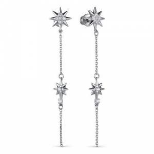 Серьги-гвоздики из серебра с фианитом