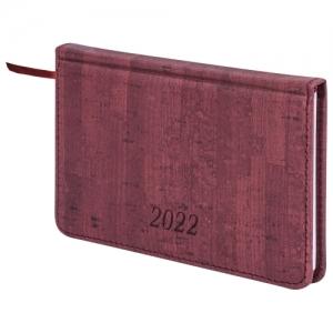 """Еженедельник датированный 2022 МАЛЫЙ ФОРМАТ 95х155 мм А6, BRAUBERG """"Wood"""", под кожу, бордовый, 112895"""