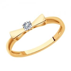 Кольцо из золота Бант с бриллиантом