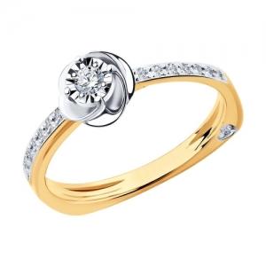 Кольцо из комбинированного золота алмазной гранью с бриллиантами