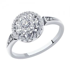 Кольцо из белого золота с родированием с бриллиантами