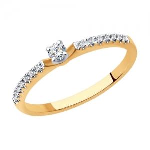 Кольцо из комбинированного золота с родированием