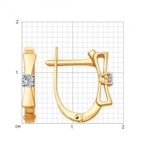 Золотые серьги Бантики с бриллиантами