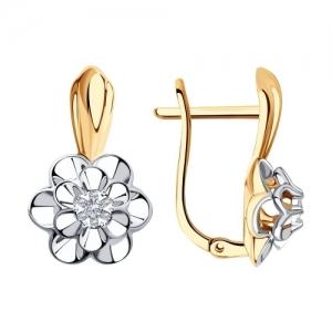 Серьги Цветы из комбинированного золота с бриллиантом