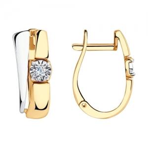 Серьги из комбинированного золота с бриллиантом