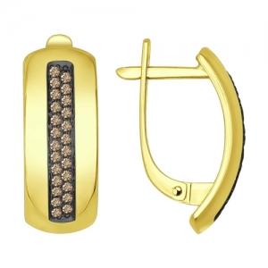 Серьги из желтого золота с коньячными бриллиантами