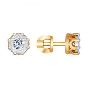 Серьги из комбинированного золота алмазной гранью с бриллиантами