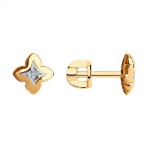 Серьги из золота с родированием с бриллиантами