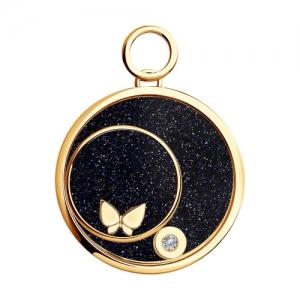 Золотая подвеска Бабочка с сапфировым стеклом