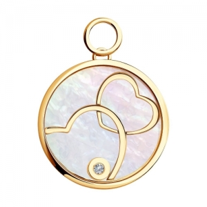 Золотая подвеска Два сердца с сапфировым стеклом