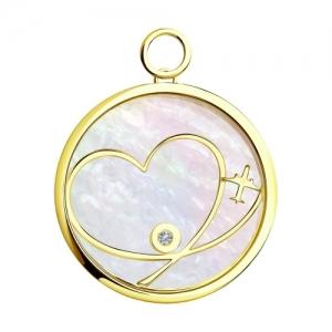 Подвеска Сердца из желтого золота с миксом камней