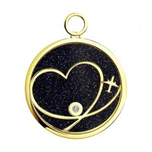 Подвеска Сердце из желтого золота с миксом камней