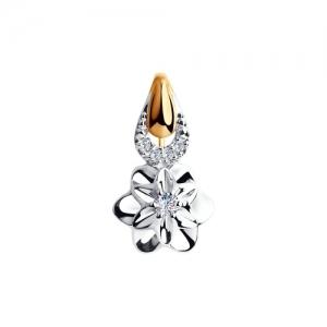 Золотая подвеска Цветок с бриллиантами
