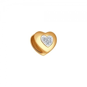 Золотая подвеска шарм в виде сердца с бриллиантом