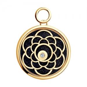 Золотая подвеска Цветок (Сапфировое стекло, Авантюрин, Бриллиант)