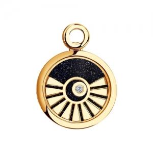 Золотая подвеска Солнце(Бриллиант, Авантюрин, Сапфировое стекло)