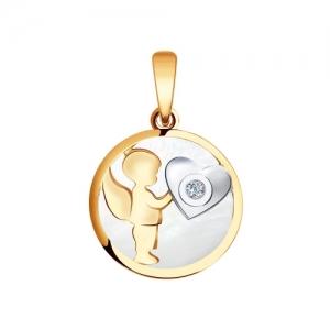 Золотая подвеска с сердечком (Бриллиант, Перламутр)