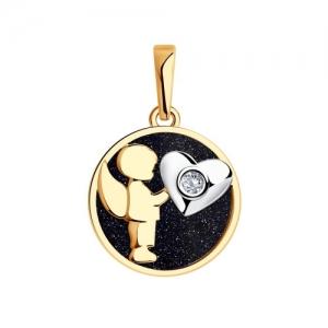 Золотая подвеска Love с авантюрином и бриллиантом