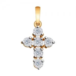 Подвеска из комбинированного золота алмазной гранью с бриллиантами