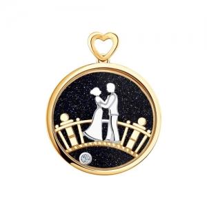 Подвеска Влюбленные из комбинированного золота с миксом камней