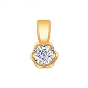 Подвеска из комбинированного золота алмазной гранью с бриллиантом