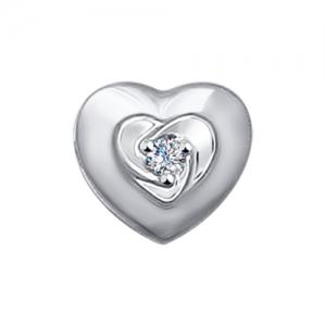 Подвеска из белого золота Сердце