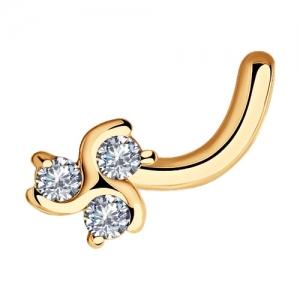 Золотой пирсинг Клевер c бриллиантами