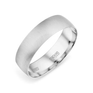 Обручальное кольцо из белого золота без камней