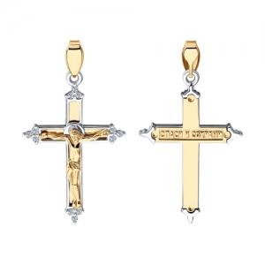 Крестик из золота c бриллиантами