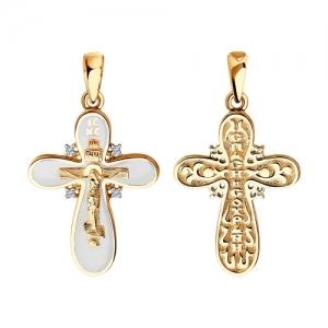 Крестик с эмалью и бриллиантами