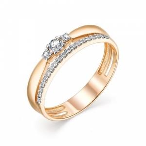 Женское кольцо из красного золота с бриллиантом