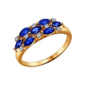 Золотое кольцо c сапфирами и бриллиантами