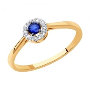 Кольцо из золота с родированием с бриллиантами и сапфиром