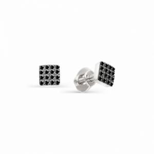 Серьги-гвоздики из белого золота с черным бриллиантом