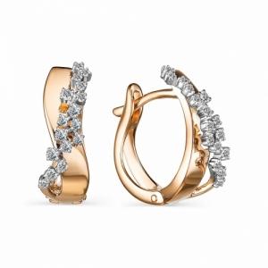 Серьги из красного золота с бриллиантом