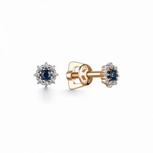Серьги-гвоздики из красного золота с сапфиром и бриллиантом
