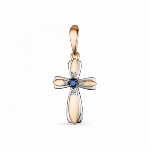 Крестик из красного золота с сапфиром и бриллиантом