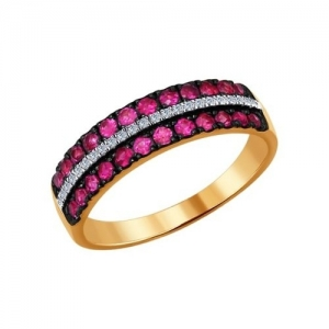 Золотое кольцо с рубином и бриллиантом