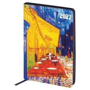"""Ежедневник датированный 2022 А5 138x213 мм BRAUBERG """"Vista"""", под кожу, """"Ночная терраса кафе"""", 112840"""