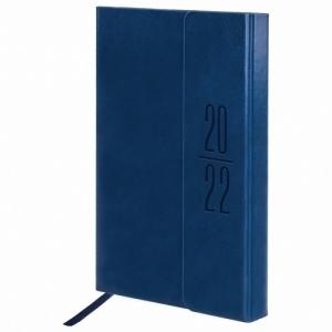 """Ежедневник датированный 2022 А5 138x213 мм BRAUBERG """"Towny"""", под кожу, клапан, синий, 112735"""