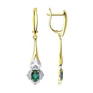 Серьги из желтого золота с бриллиантами и изумрудами