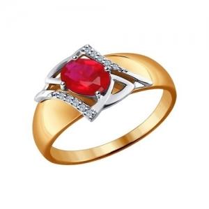 Золотое кольцо рубином и бриллиантом