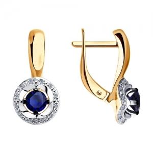 Серьги из комбинированного золота с бриллиантами и синими корундами
