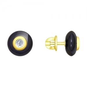 Серьги из желтого золота с бриллиантами и чёрными керамическими вставками